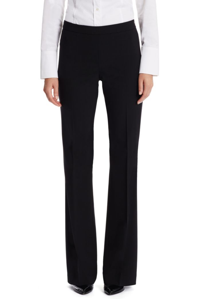 Boot-leg pants in Italian stretch-virgin-wool