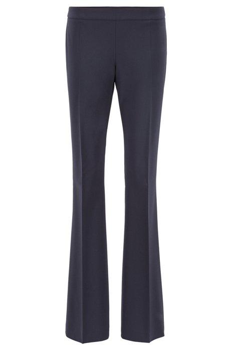 Boot-leg pants in Italian stretch-virgin-wool, Dark Blue