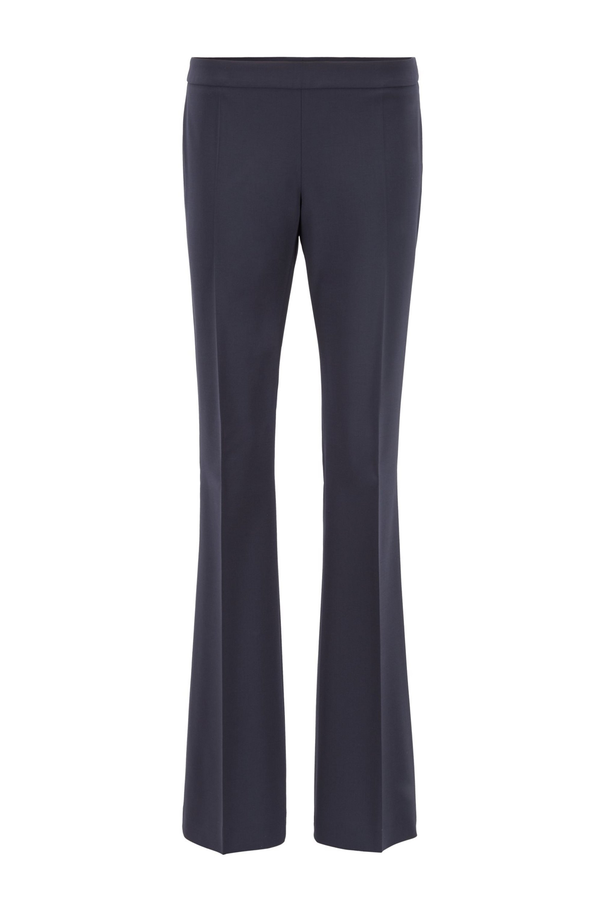 Boot-leg pants in Italian stretch-virgin-wool, Dark Blue