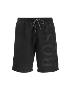 Quick-drying swim shorts with tonal logo, Black