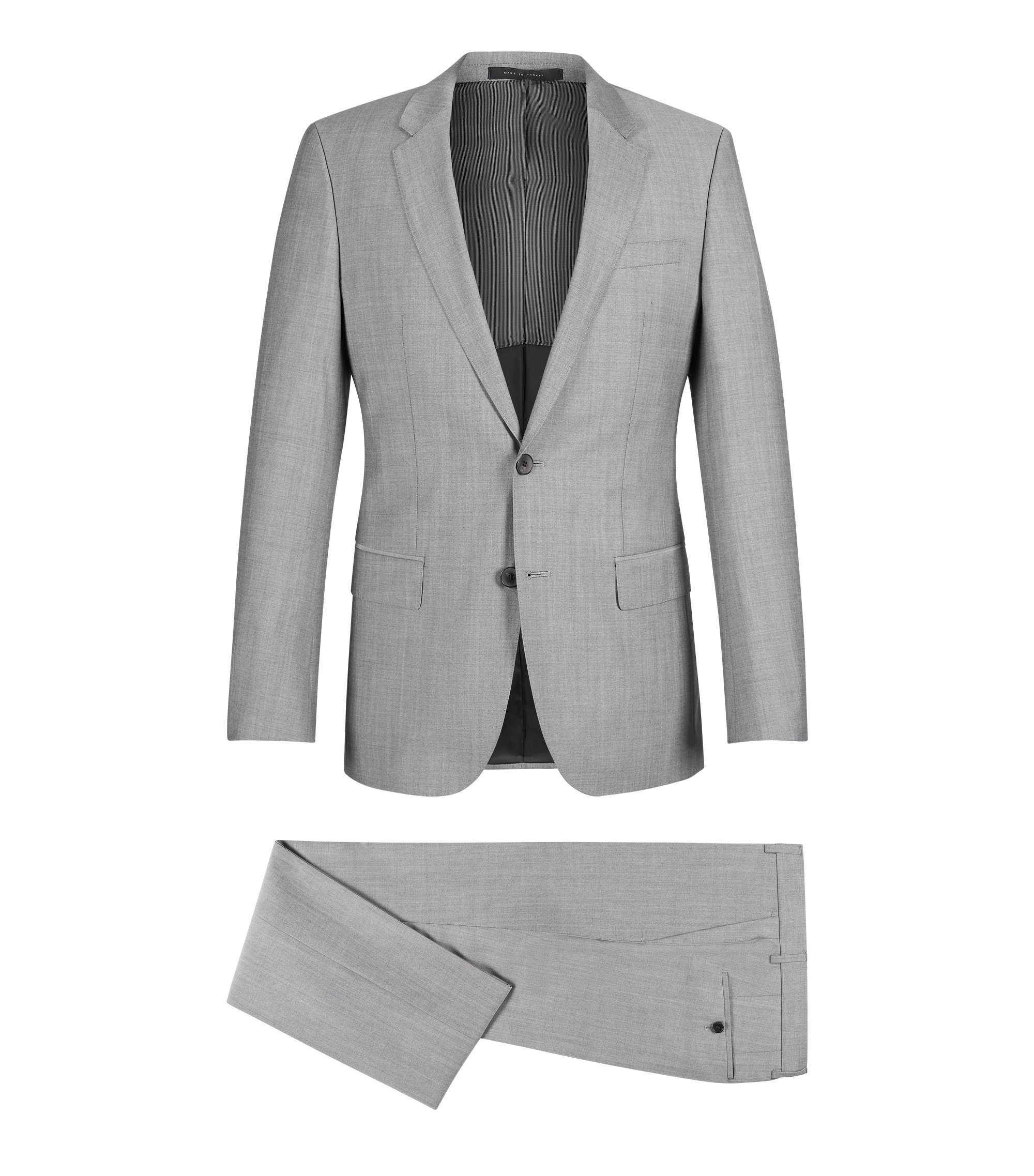 Italian Virgin Wool Suit, Slim Fit | Huge/Genius, Open Grey