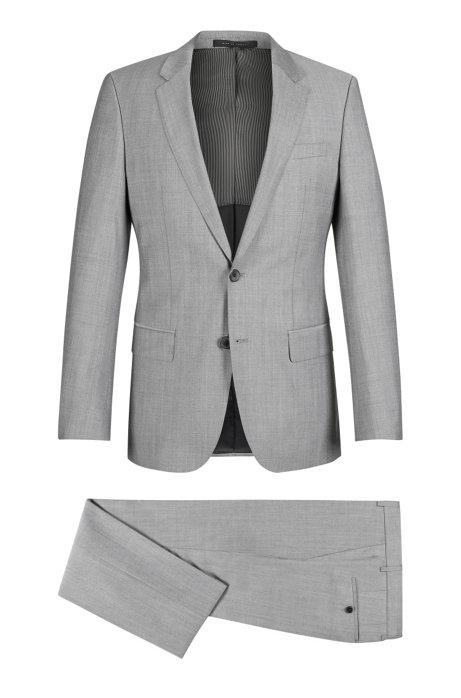ff355c246e1994 Italian Virgin Wool Suit, Slim Fit   Huge/Genius, Open Grey