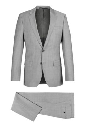 Italian Super 110 Virgin Wool Suit, Slim Fit | Huge/Genius, Open Grey
