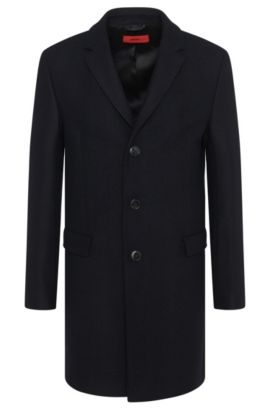 'Migor' | Herringbone Wool Blend Coat , Dark Blue