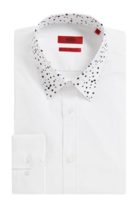 'Elisha' | Extra Slim Fit, Stretch Cotton Button Down Shirt, Open White