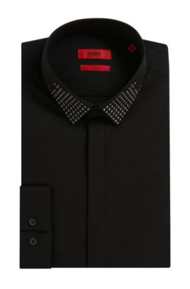 'Edinburgh' | Slim Fit, Cotton Button Down Shirt, Black