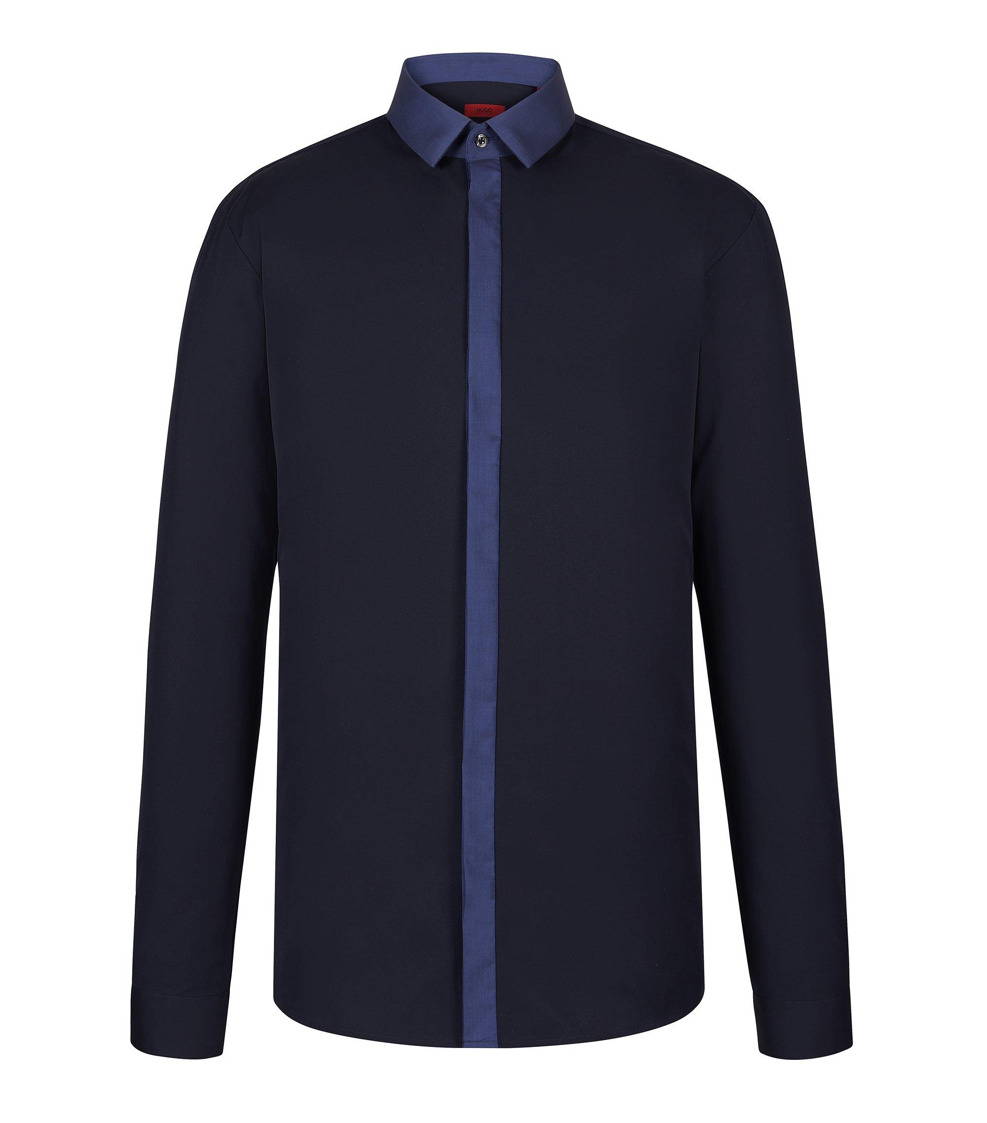 Cotton Button Down Shirt, Slim Fit | Edinburgh, Dark Blue