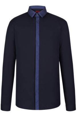 Cotton Button Down Shirt, Slim Fit | Edinburgh, Dark Blue