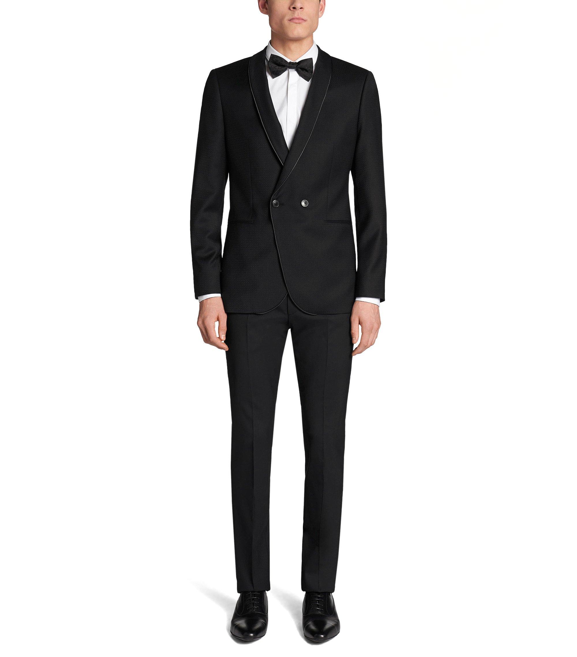 Stretch Virgin Wool Blend Sport Coat, Slim Fit   Anz, Black