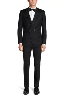 Stretch Virgin Wool Blend Sport Coat, Slim Fit | Anz, Black
