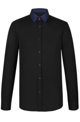 'Elisha' | Extra Slim Fit, Cotton Dress Shirt, Black