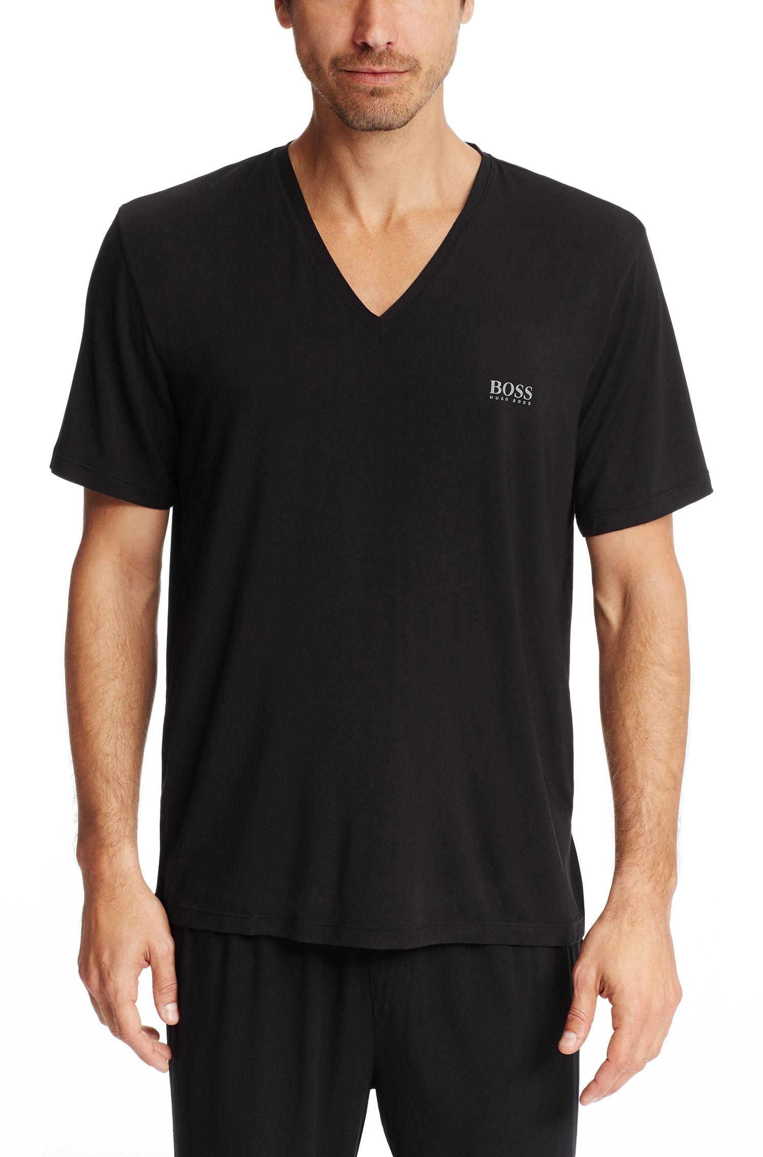 Stretch Modal V-Neck T-Shirt | Shirt VN SS, Black
