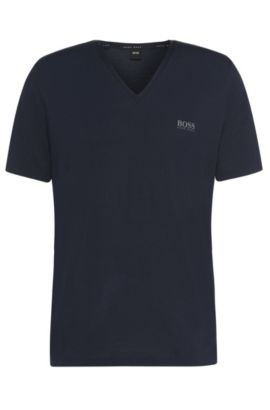 'Shirt VN SS' | Stretch Modal V-Neck T-Shirt, Dark Blue