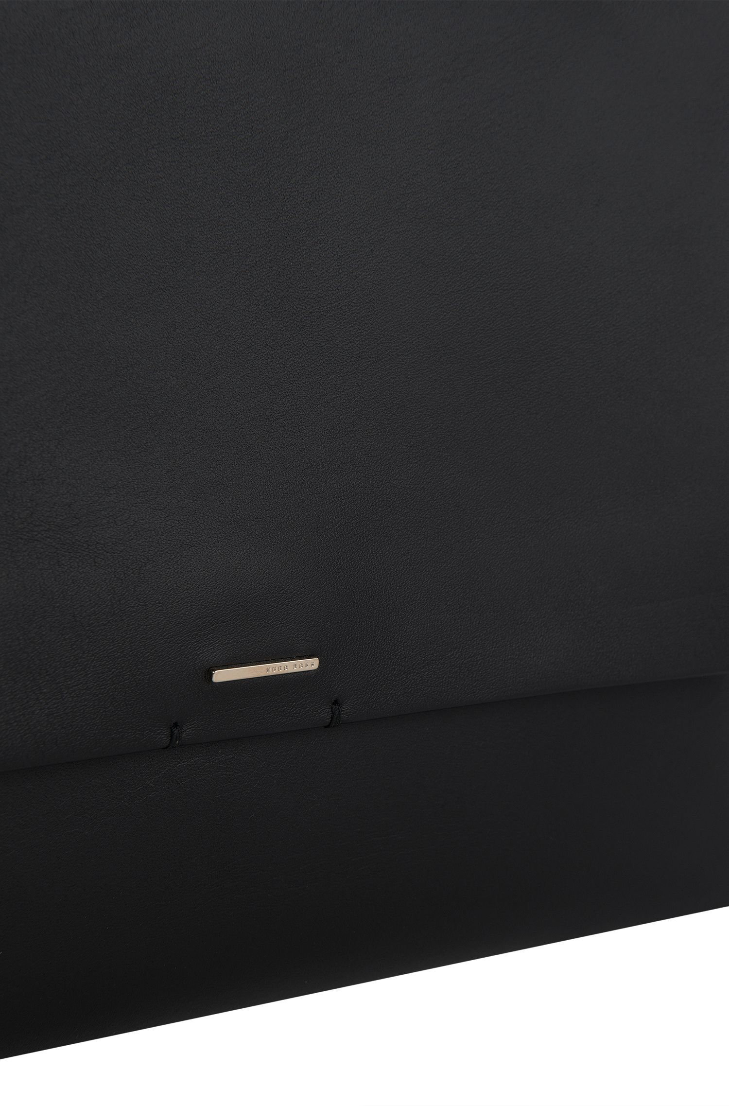 'Luxury Staple C' | Calfskin Clutch with Chain Strap , Black