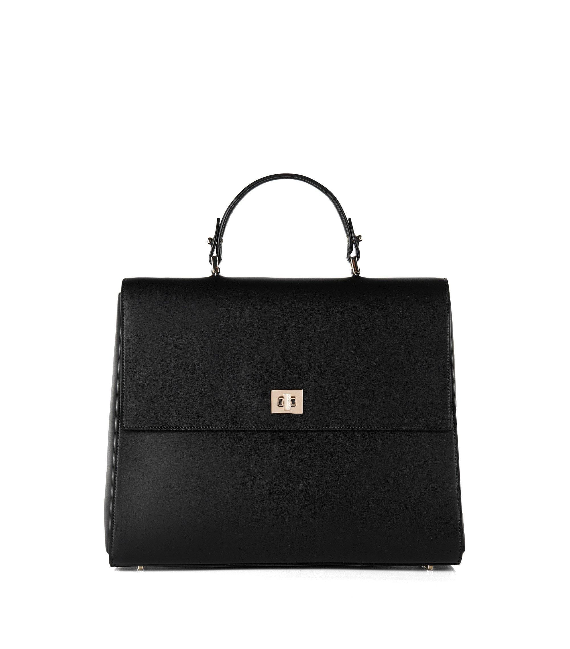 'Bespoke' | Leather Handbag, Detachable Strap, Black
