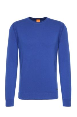 'Albion'   Virgin Wool Cotton Blend Sweater, Turquoise