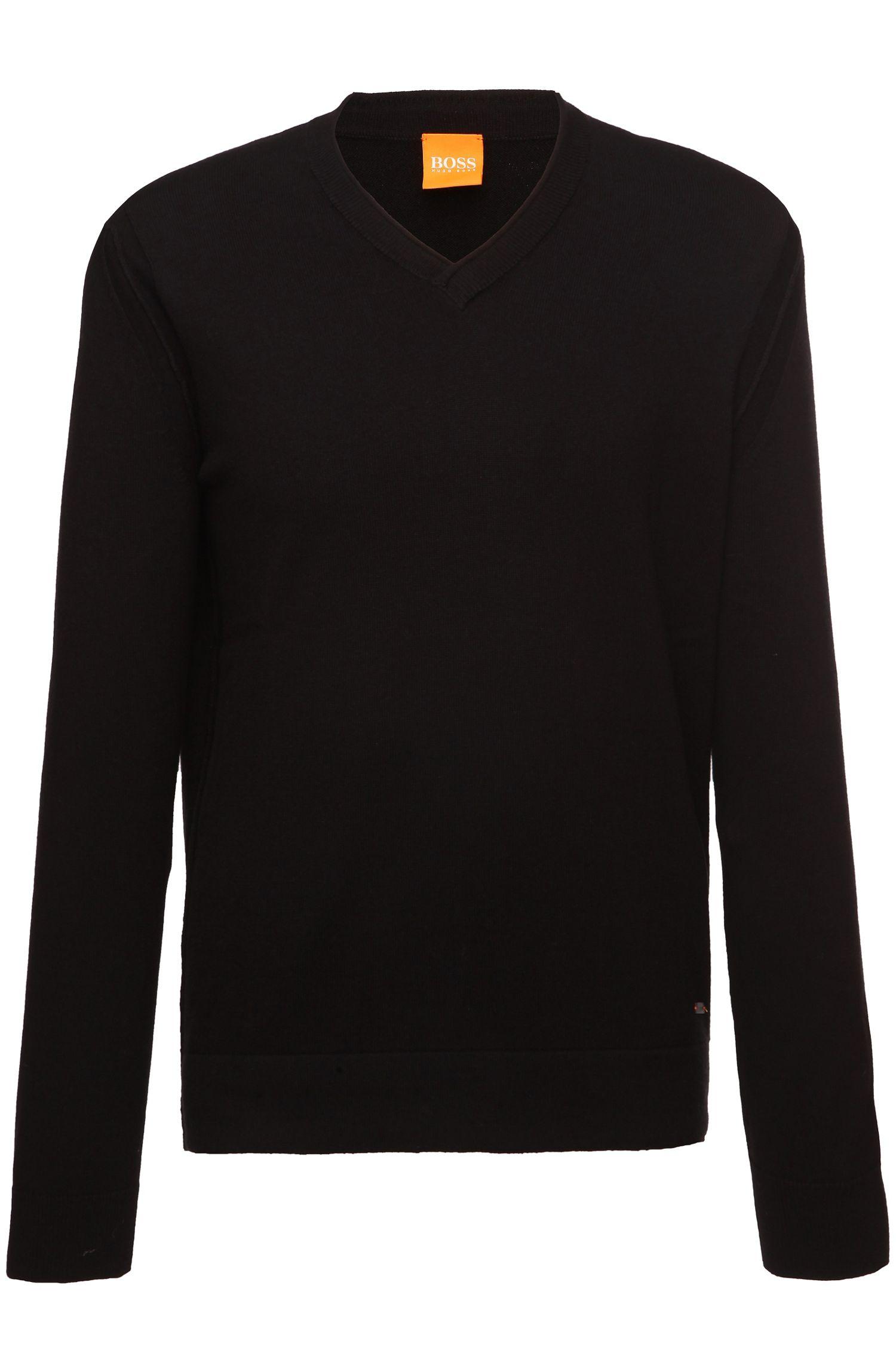 'Albino'   Cotton Virgin Wool Blend V-Neck Sweater