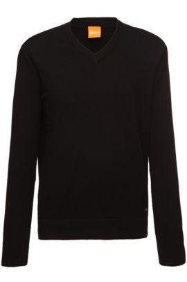'Albino'   Cotton Virgin Wool Blend V-Neck Sweater, Black