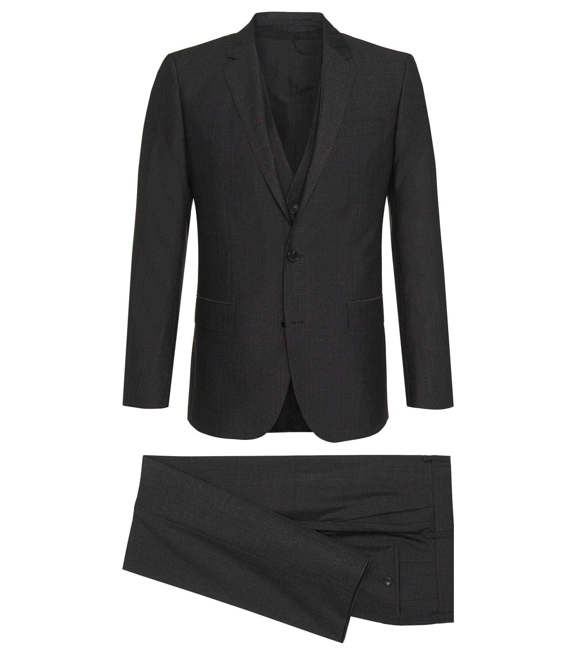 Silk Wool 3-Piece Suit, Slim Fit | Huge/Genius WE, Charcoal
