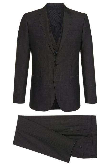 370ea68255f7d7 Silk Wool 3-Piece Suit, Slim Fit   Huge/Genius WE, Charcoal