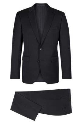 Italian Super 100 Virgin Wool Suit, Regular Fit | Johnstons/Lenon, Black