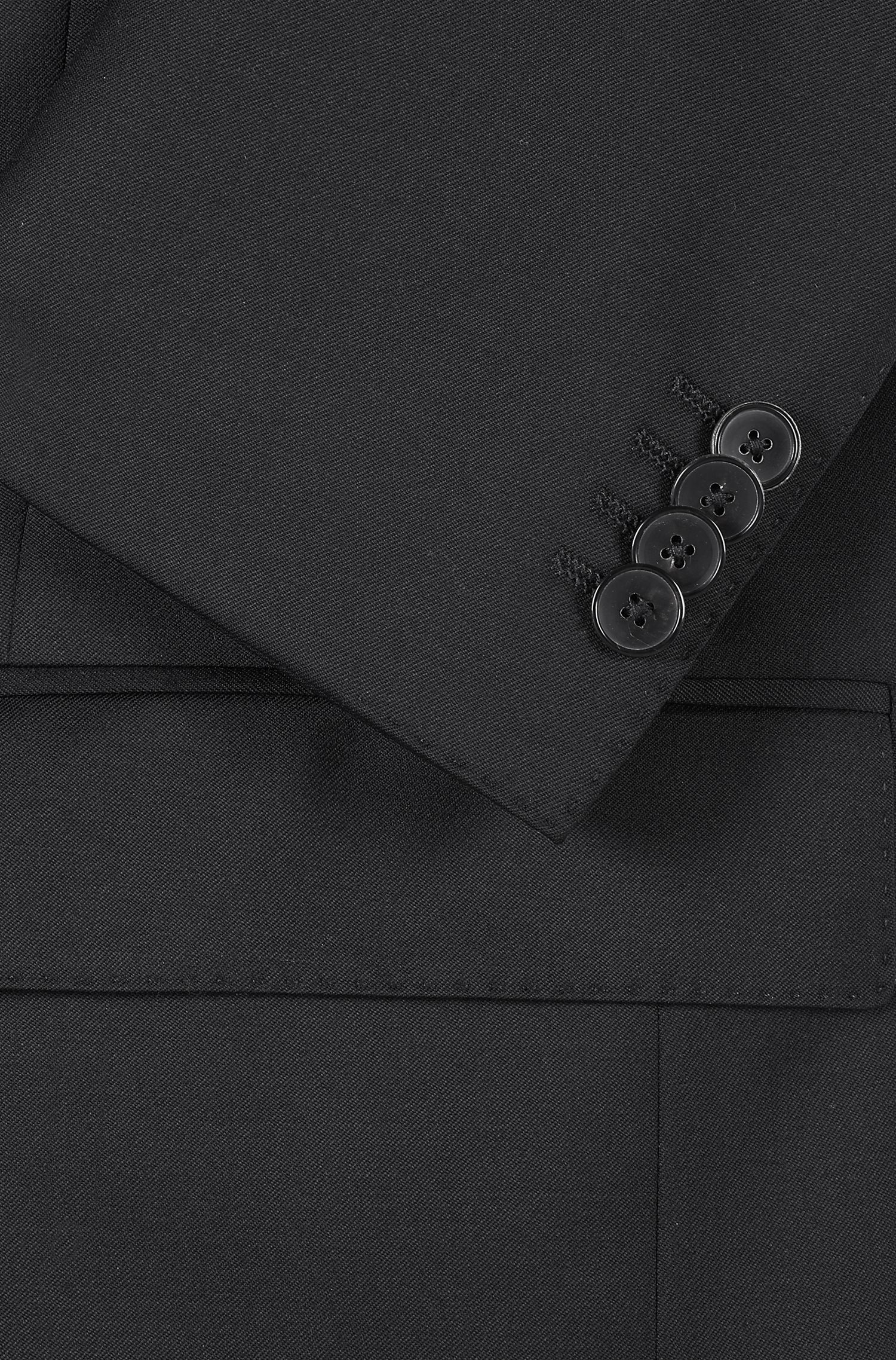 Italian Wool Suit, Regular Fit | Johnstons/Lenon, Black