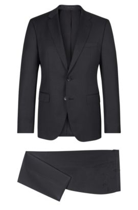 Virgin Wool Gabardine Suit, Regular Fit | Johnstons/Lenon, Dark Grey