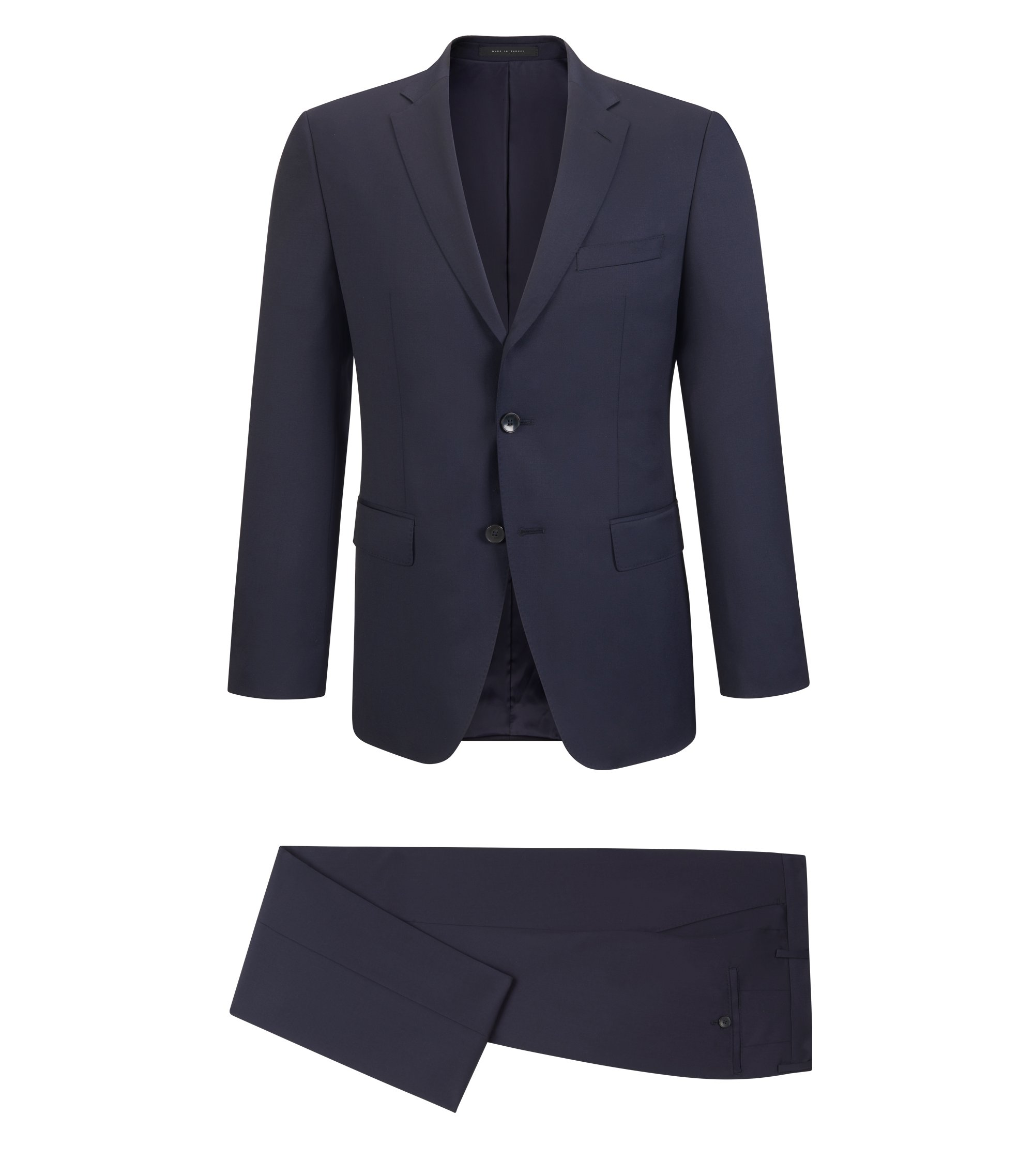 Virgin Wool Gabardine Suit, Regular Fit | Johnstons/Lenon, Dark Blue