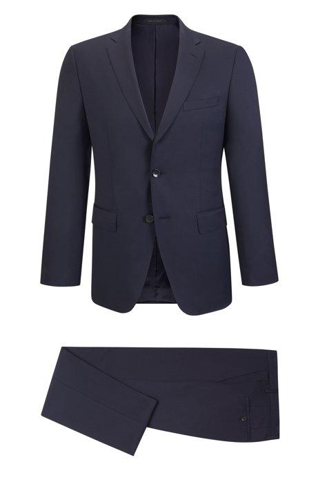 Virgin Wool Gabardine Suit, Regular Fit   Johnstons/Lenon, Dark Blue