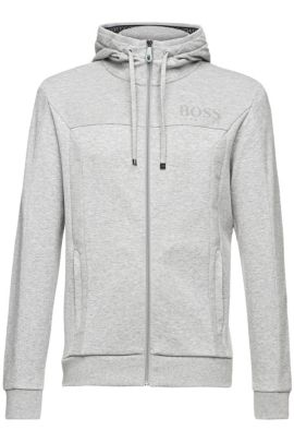 'Saggy' | Cotton Blend Hooded Sweat Jacket, Light Grey