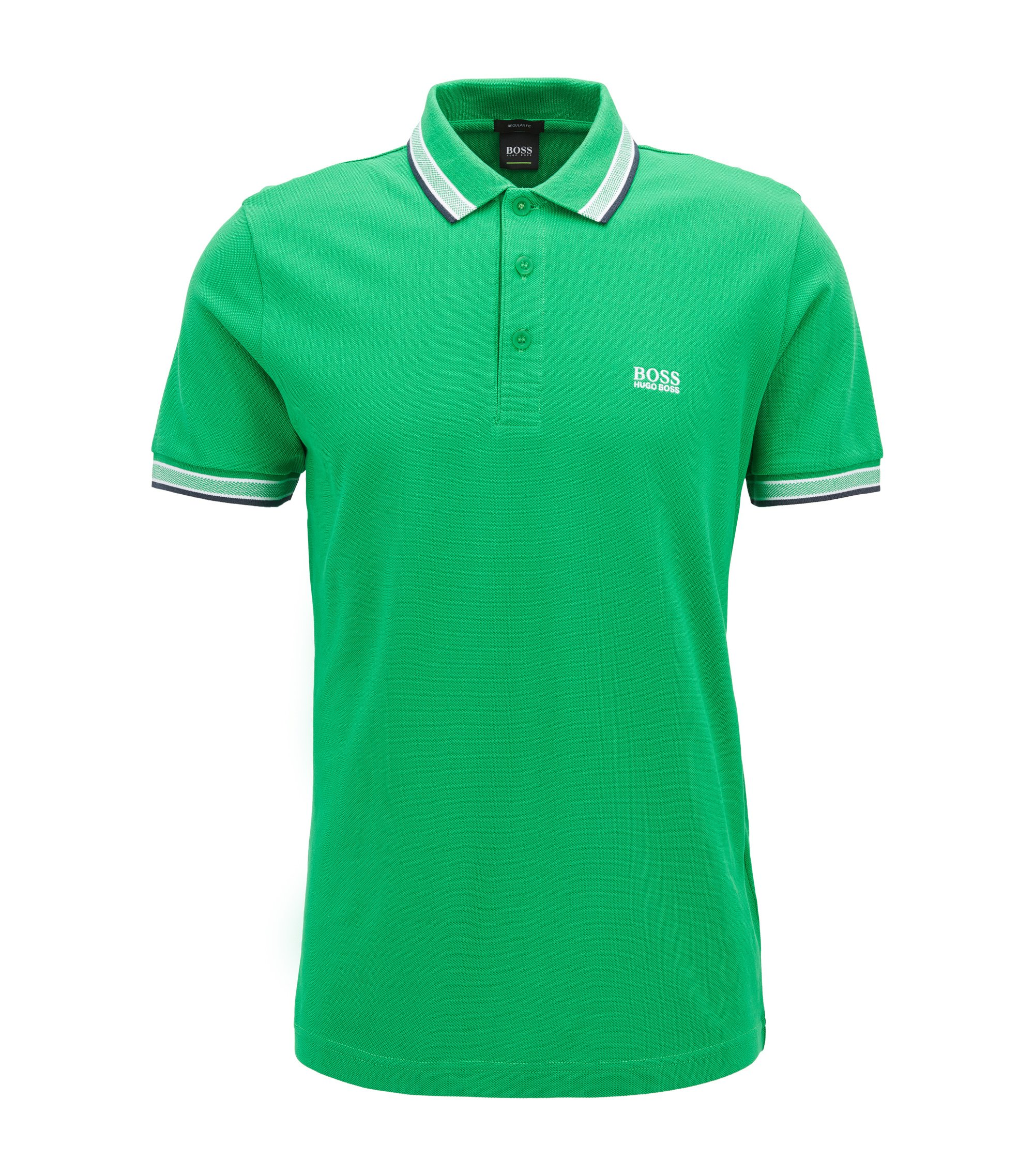 Cotton Polo Shirt, Regular Fit | Paddy, Open Green