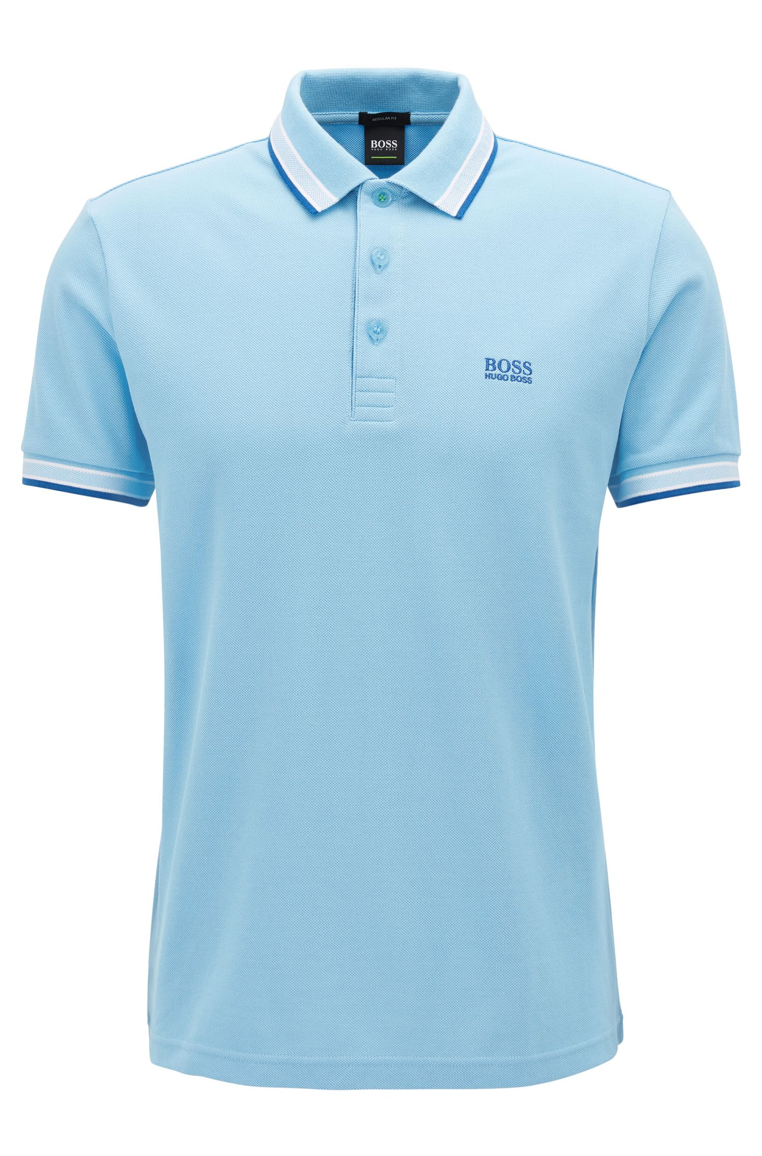 Cotton Polo Shirt, Regular Fit | Paddy, Open Blue