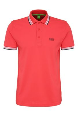 'Paddy' | Regular Fit, Cotton Polo, Open Red