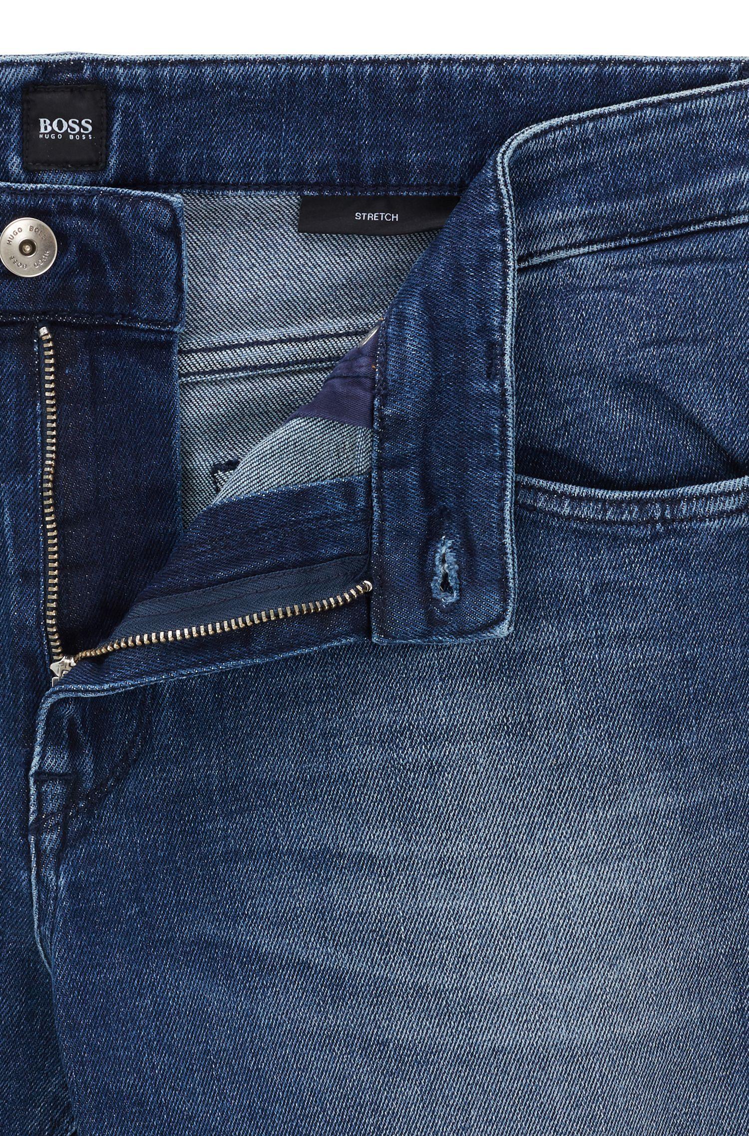 Regular-fit jeans in dark-blue comfort-stretch denim, Blue