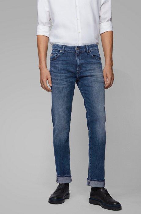 Regular-fit jeans in dark blue comfort-stretch denim, Blue