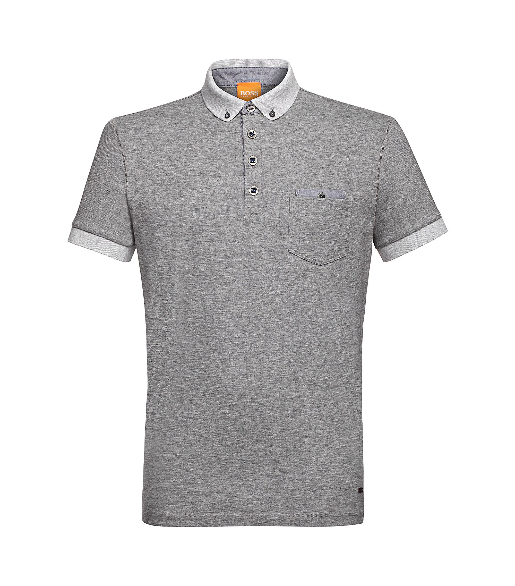 Yarn-Dyed Cotton Jersey Polo   Patches, Light Grey