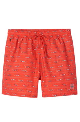 'Piranha' | Quick Dry Swim Trunks, Open Red