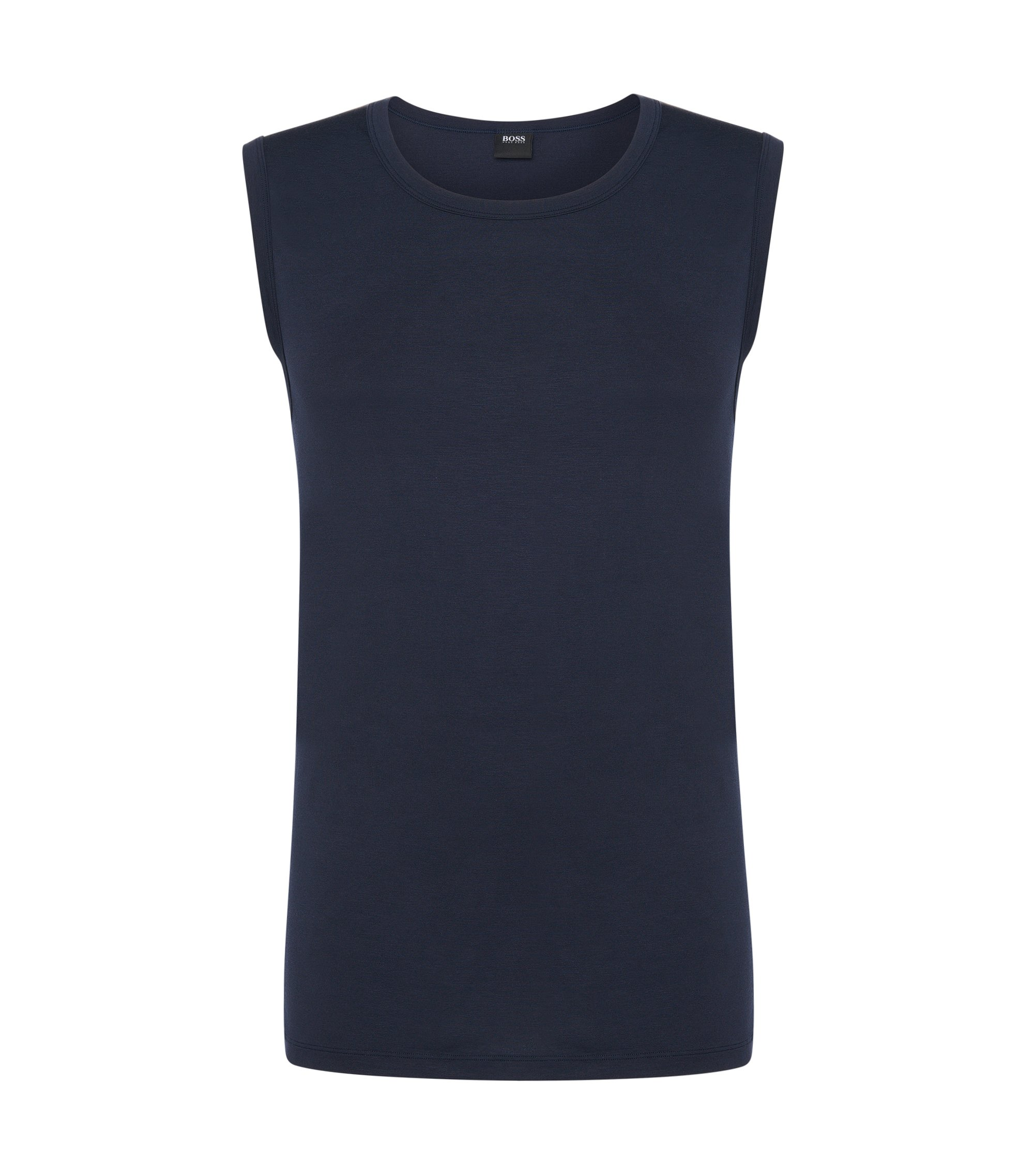 Stretch Modal Sleeveless T-Shirt | Shirt SL RN Seacell, Dark Blue