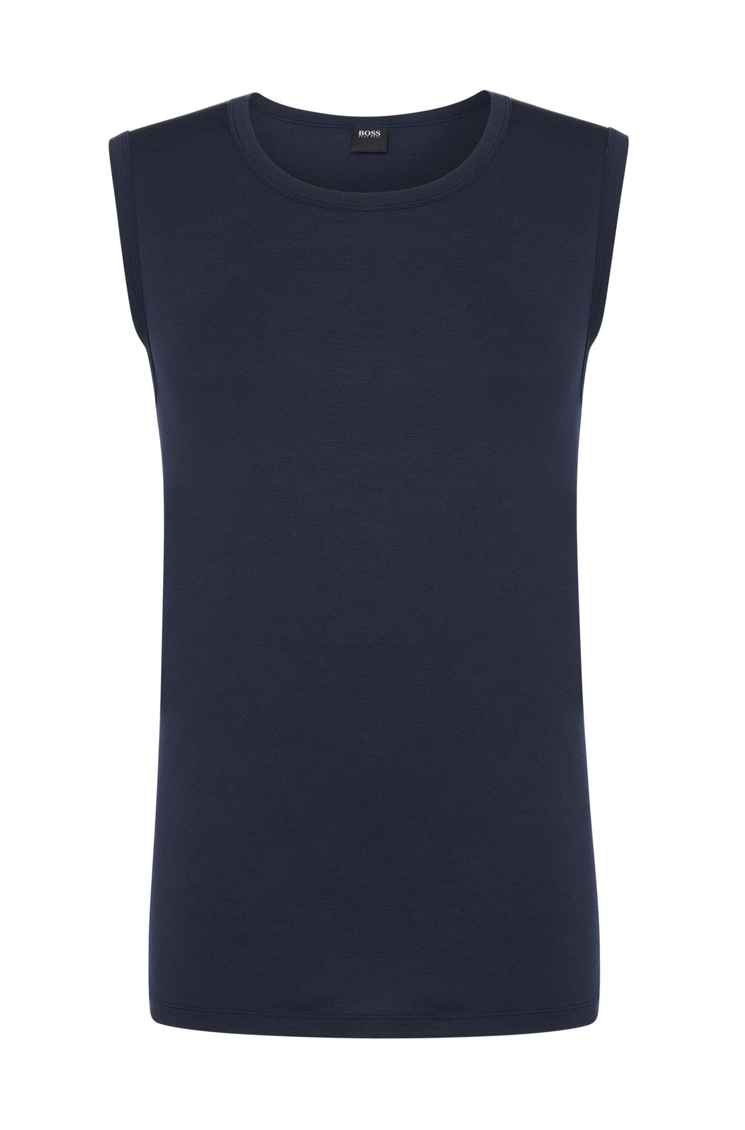 Stretch Modal Sleeveless T-Shirt | Shirt SL RN Seacell, Dark Blue