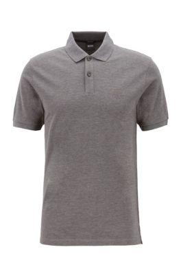 Regular-fit polo shirt in fine piqué, Grey