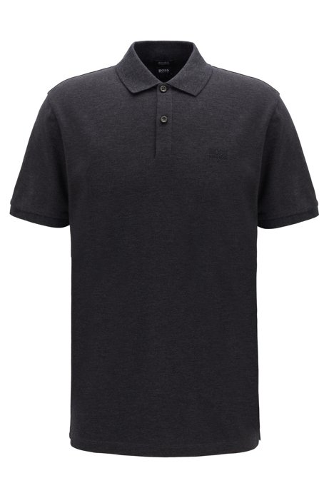 Regular-fit polo shirt in fine piqué, Open Grey