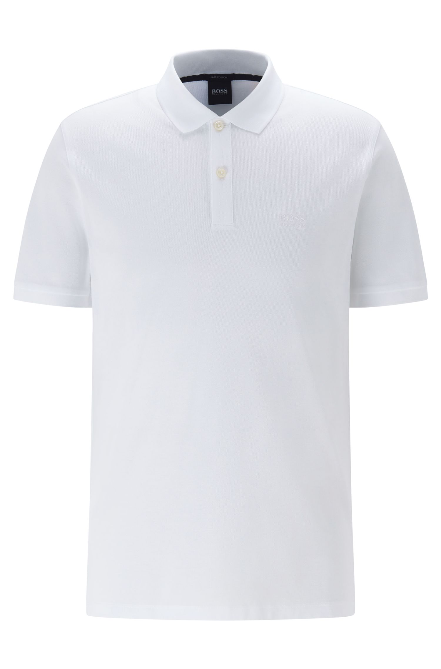 Regular-fit polo shirt in fine piqué, White