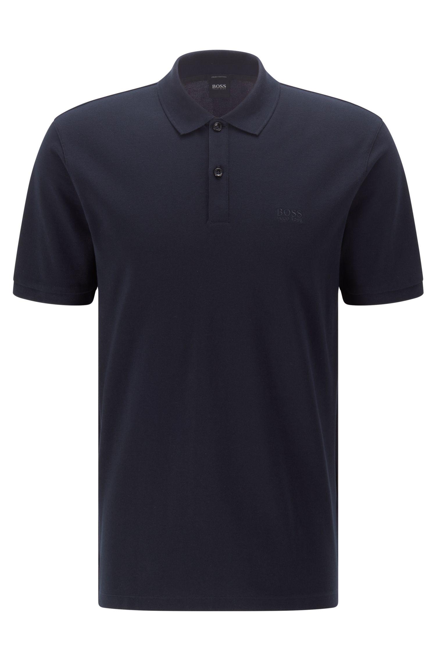 Regular-fit polo shirt in fine piqué, Dark Blue