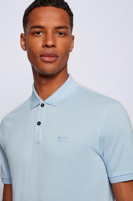 Regular-fit polo shirt in fine piqué, Light Blue