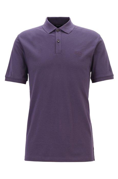 Regular-fit polo shirt in fine piqué, Dark Purple