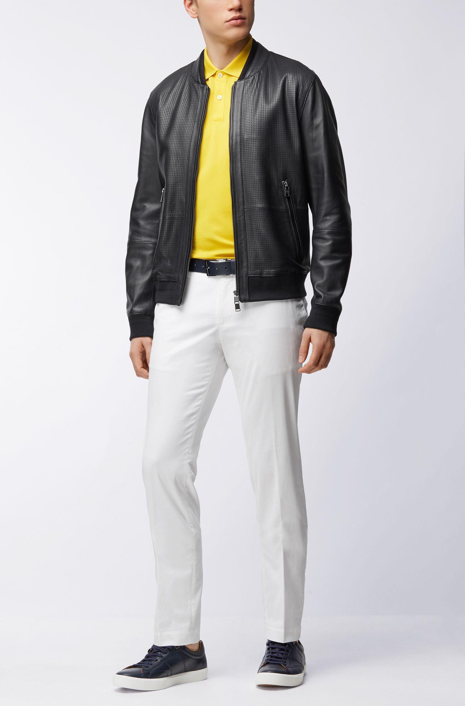 Regular-fit polo shirt in fine piqué, Yellow
