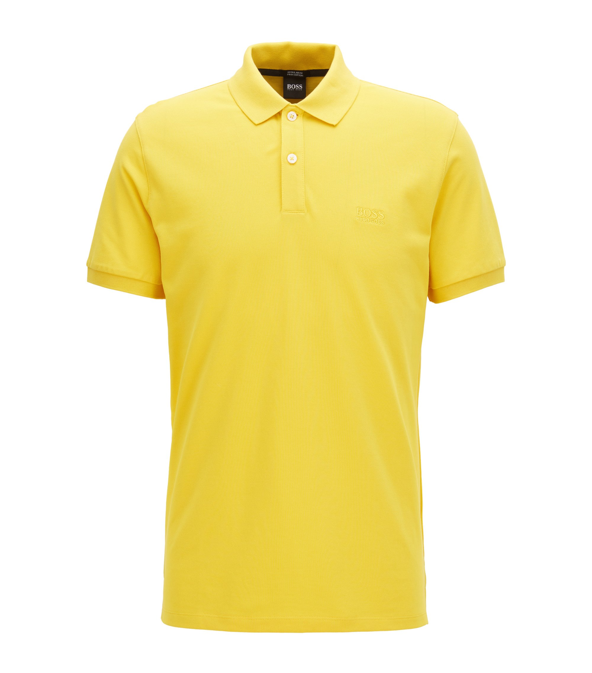 Regular-fit polo shirt in fine piqué, Yellow