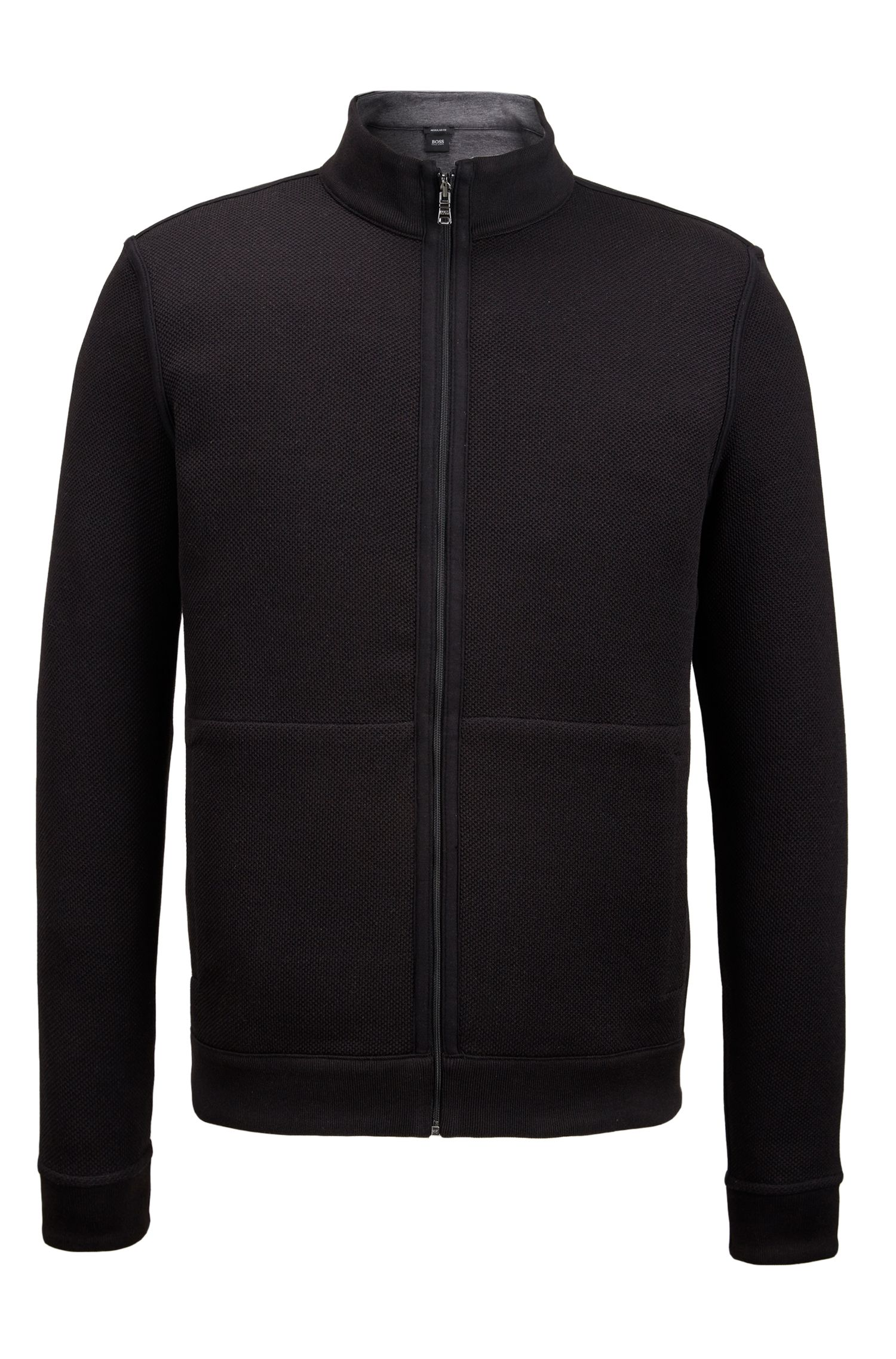Reversible Cotton Full-Zip Sweater | Scavo, Black