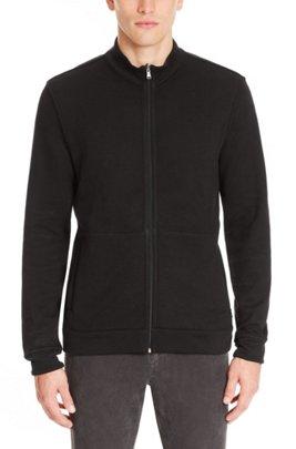 Zip-through sweatshirt in double-faced melange cotton, Black