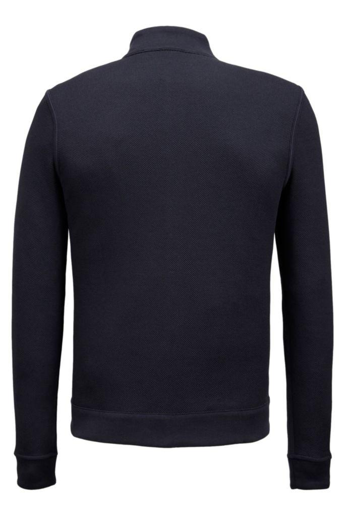 Zip-through sweatshirt in double-faced melange cotton